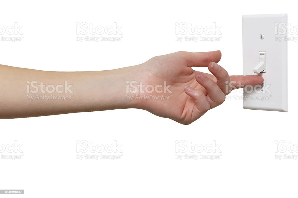 Young Woman with Light Switch Isolated on White Background stock photo