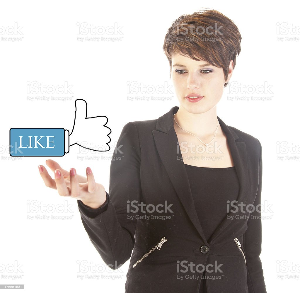 Young woman with Like thumbs up isolated on white background royalty-free stock photo