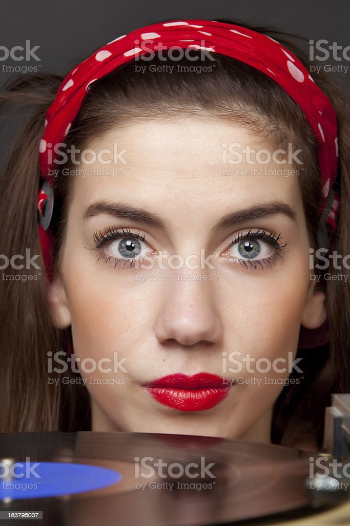 Young woman with LP stock photo