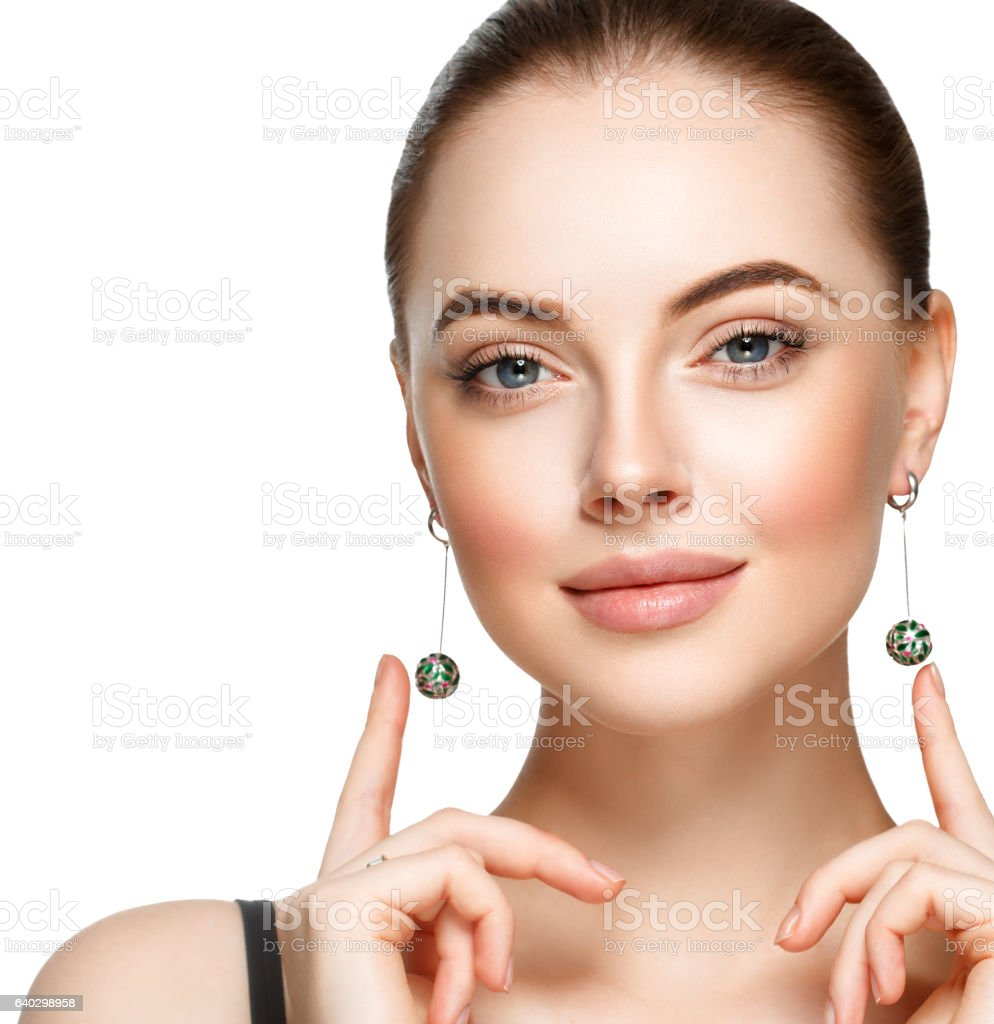 Young woman with luxury accessories on white background - foto de acervo
