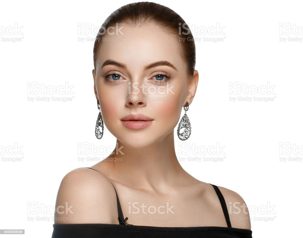 Young woman with luxury accessories on white background stock photo