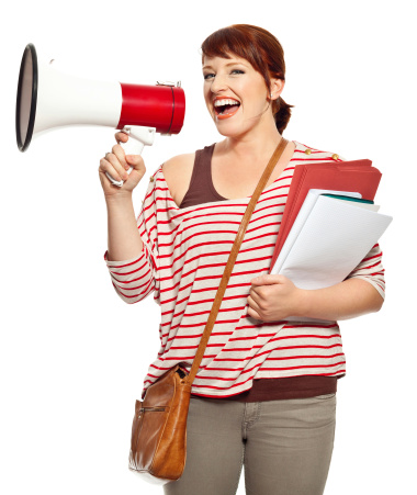 Young Woman With Megaphone Stock Photo - Download Image Now