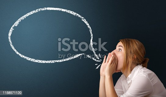 istock Young woman with modern speech bubble 1158571120