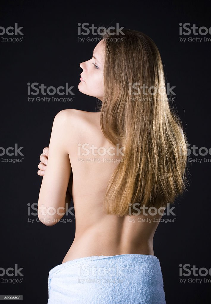 Young woman with naked back royalty-free stock photo