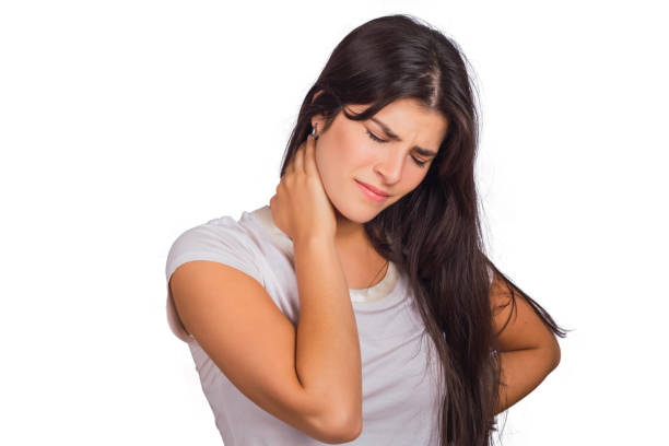 Young woman with neck pain. stock photo