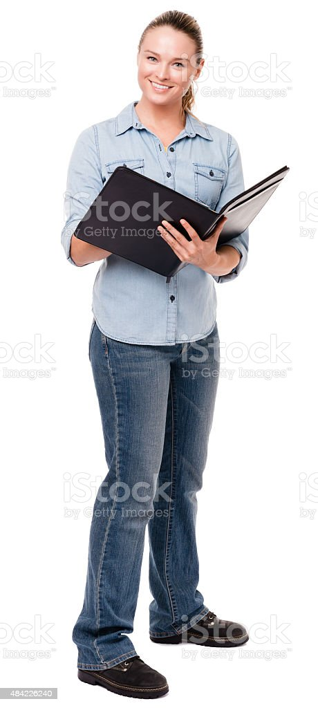 Young Woman with Notebook on White stock photo