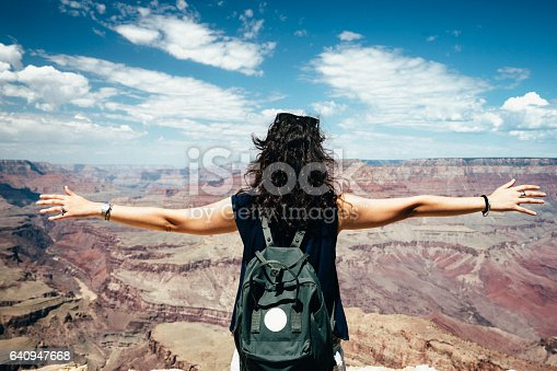 Young Woman With Open Arms At Grand Canyon