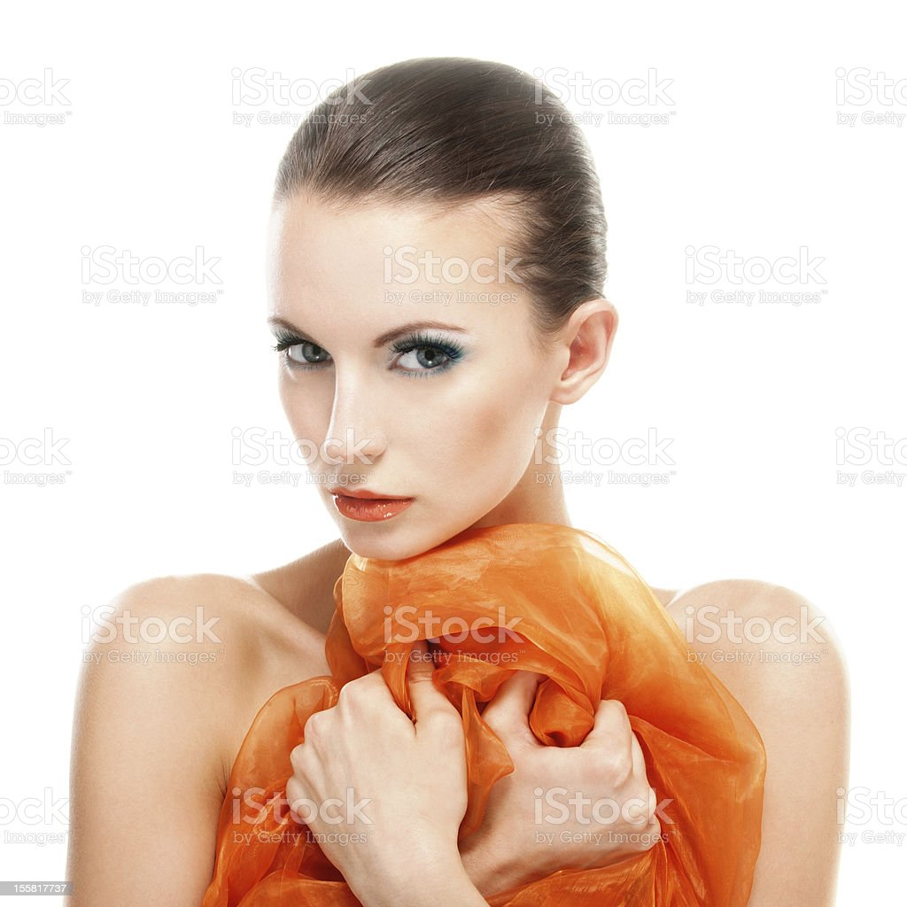 Young woman with orange shawl stock photo