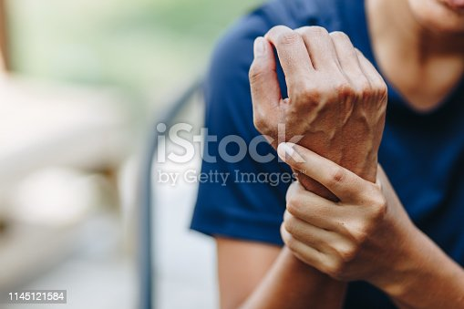 istock young woman with pain in shoulder, Ache in human body , office syndrome , health care concept 1145121584