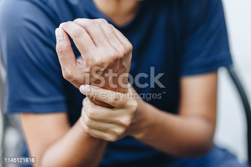 istock young woman with pain in shoulder, Ache in human body , office syndrome , health care concept 1145121616