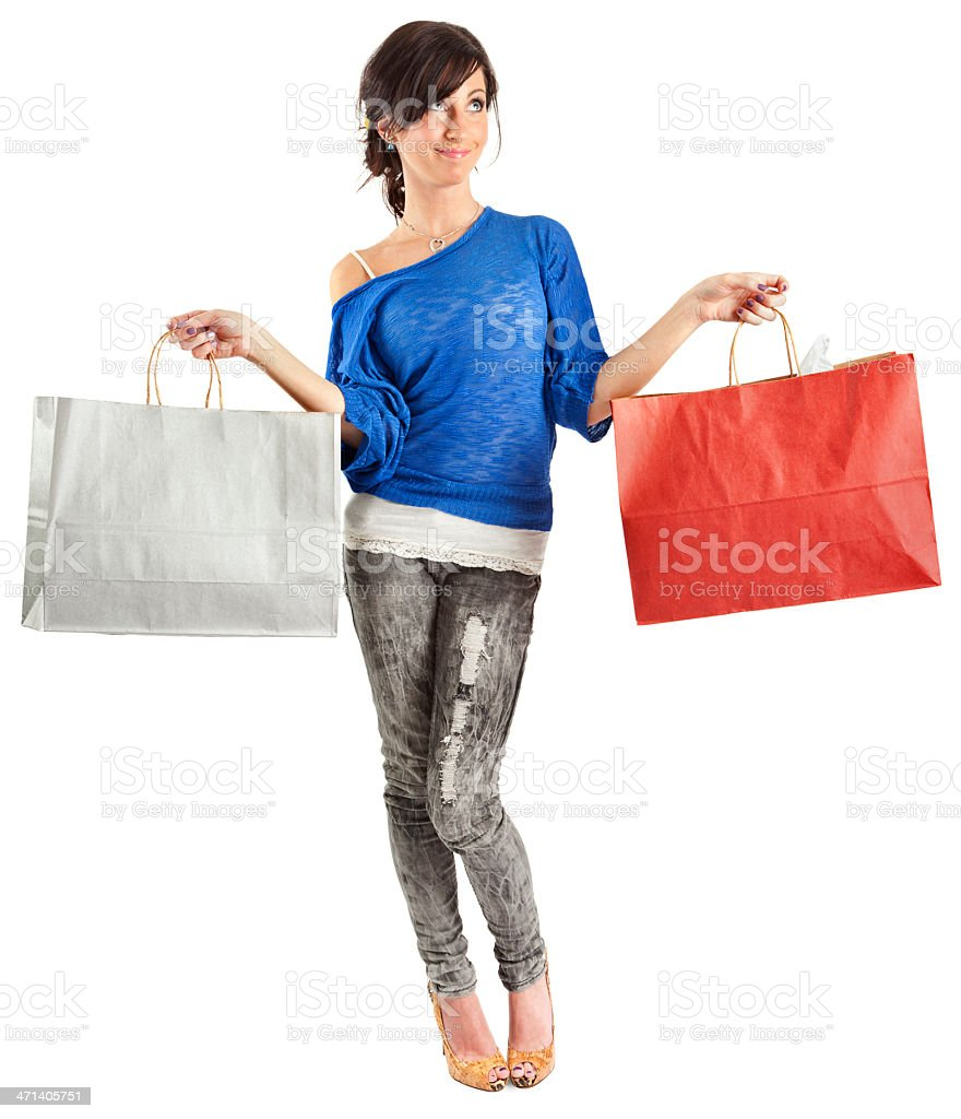 Young Woman with Paper Shopping Bags royalty-free stock photo