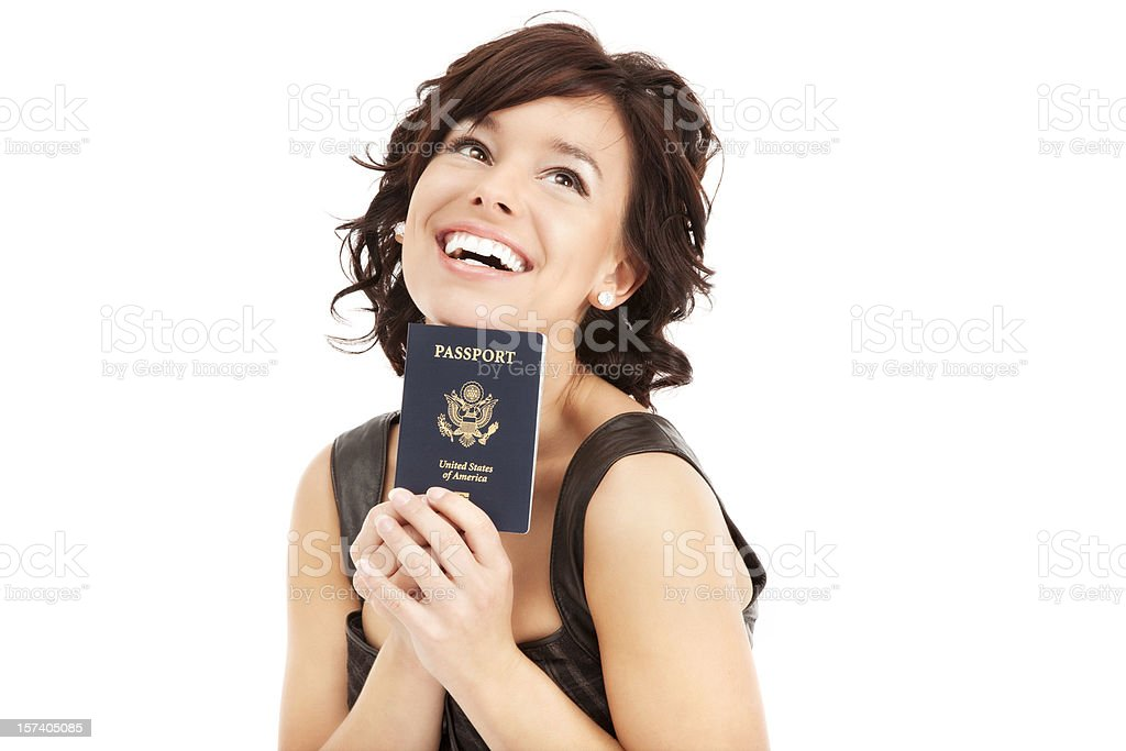 Young Woman with Passport royalty-free stock photo