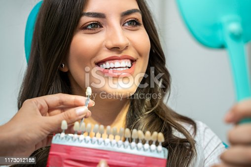 Young woman with perfect teeth , looking how white are her teeth , with teeth shade