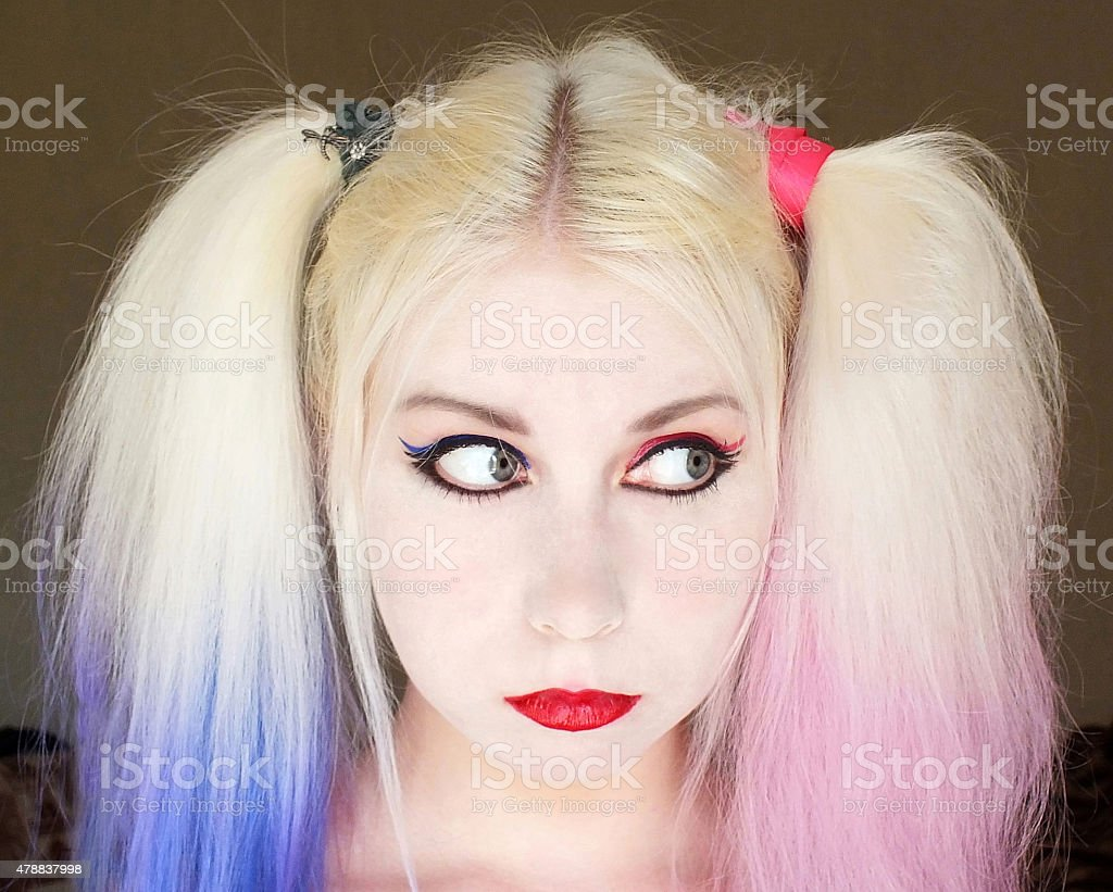 Young woman with ponytails stock photo