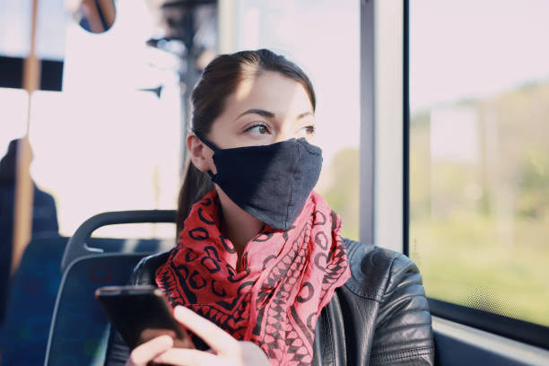Young woman with protective mask stock image stock photo