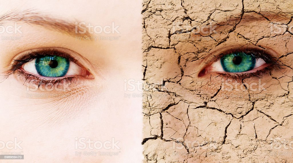 Young woman with pure and cracked face stock photo