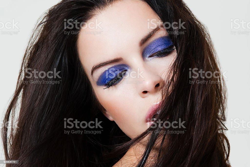 Young woman with purple eyeshadow stock photo