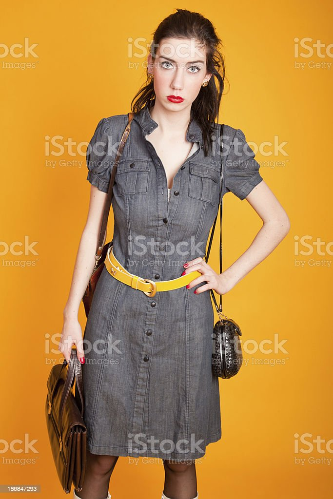 Young woman with purse stock photo