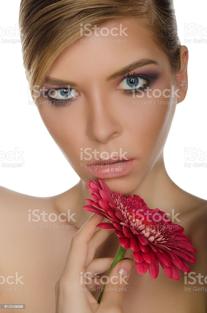 Young Woman With Red Chrysanthemum Stock Photo Download