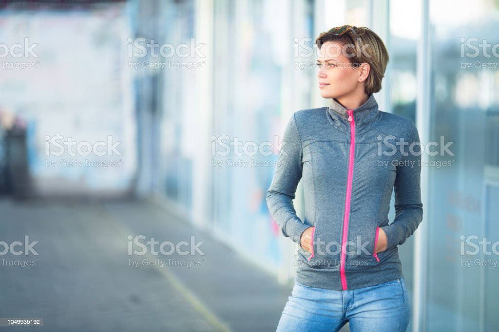 Young woman with short hair stock photo