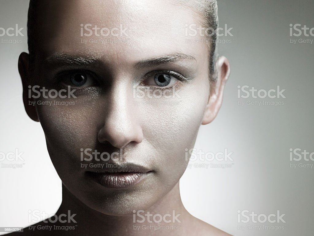 Young woman with silver make up on face royalty-free stock photo