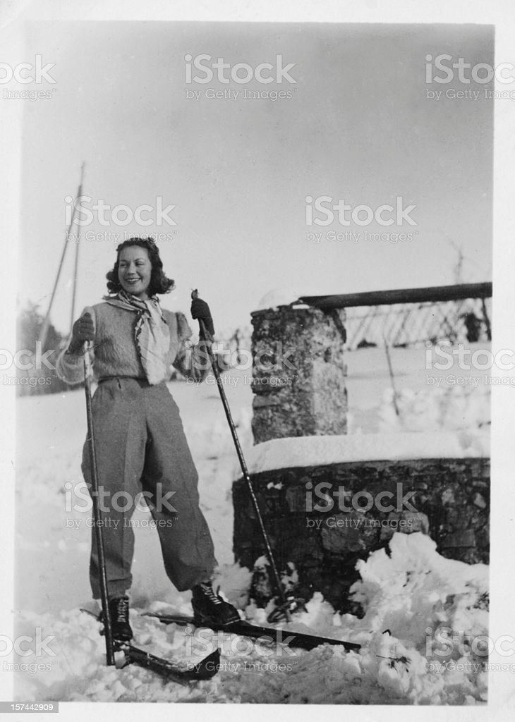 Young Woman with Ski. Winter Holidays, 1935. Black And White royalty-free stock photo