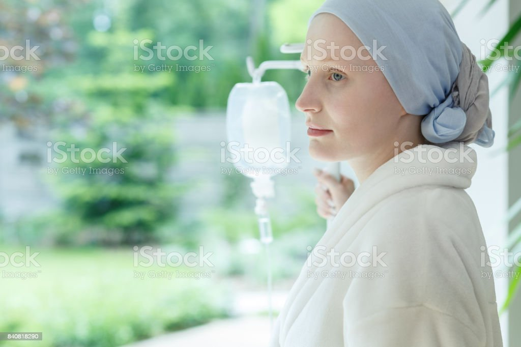 Young woman with skin cancer stock photo
