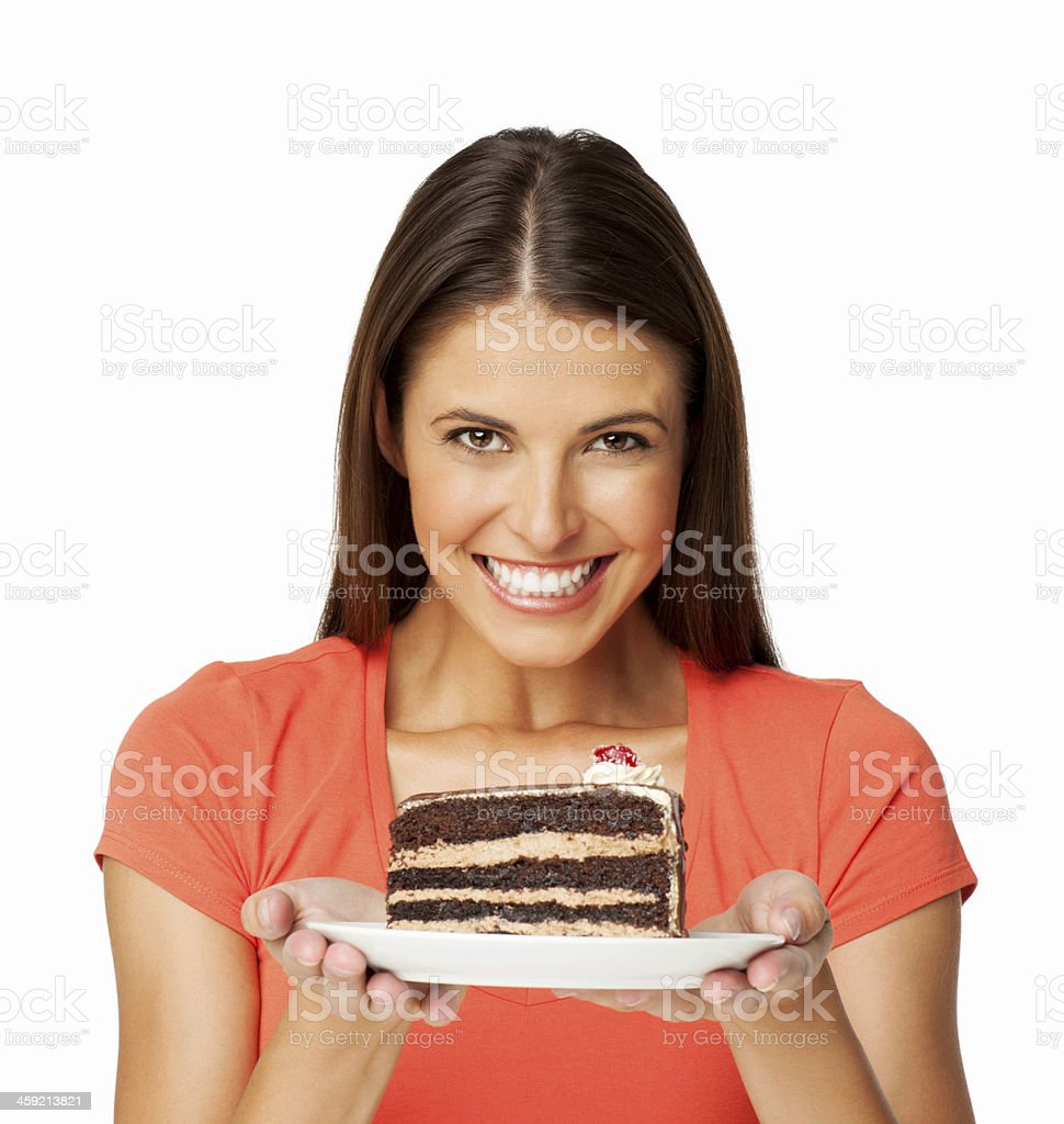 Young Woman With Slice Of Cake - Isolated stock photo