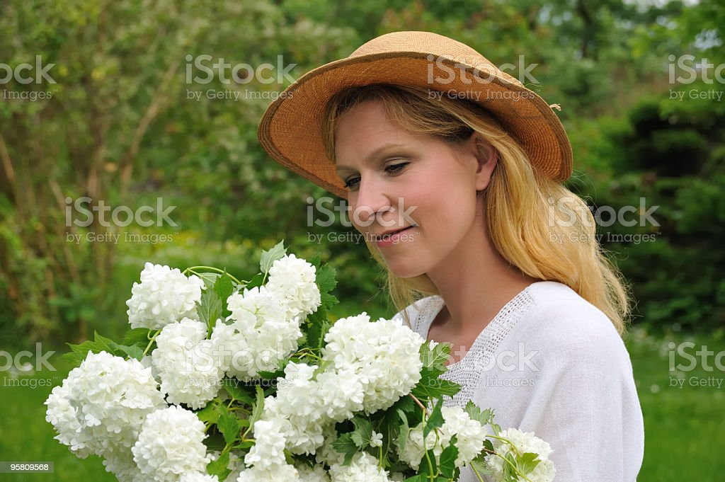 Young woman with snowballs royalty-free stock photo