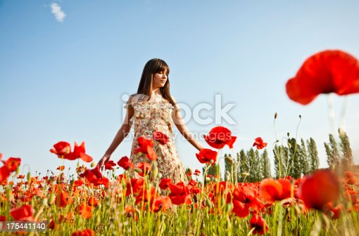 istock Young woman with spread arms looking up 175441140