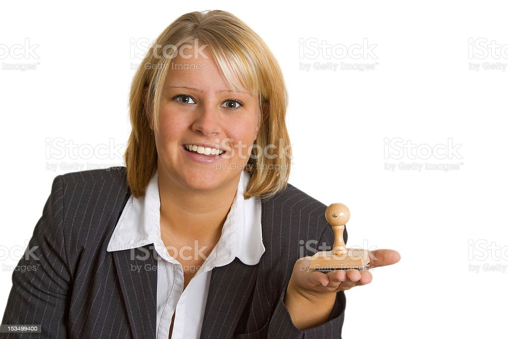 Young woman with stamp royalty-free stock photo