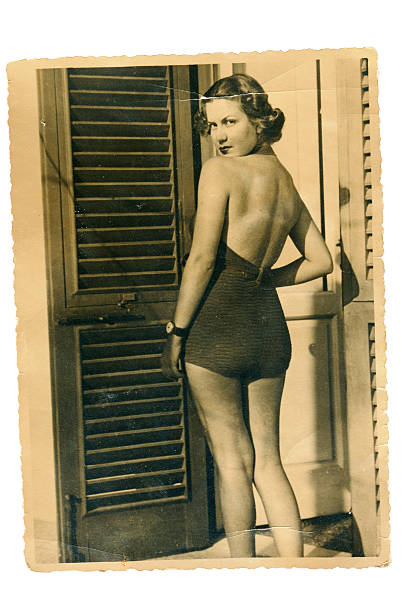 young woman with swimwear in 1935. black and white - 1920s style stock photos and pictures