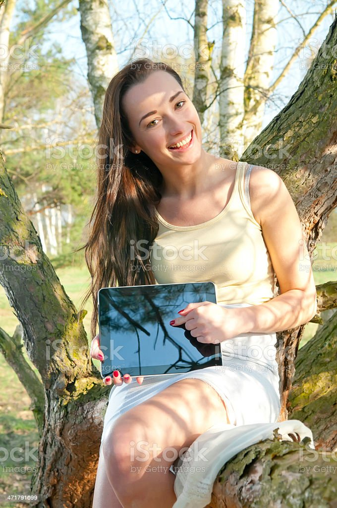 young woman with tablet pc royalty-free stock photo