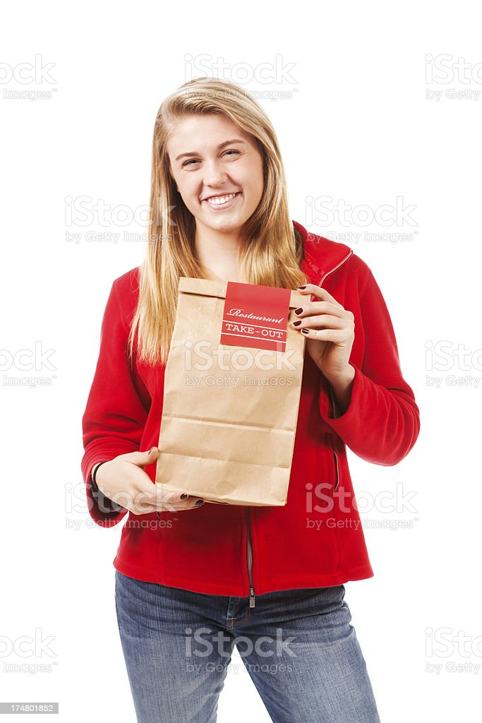 Young Woman with Take Out Food on White Background royalty-free stock photo