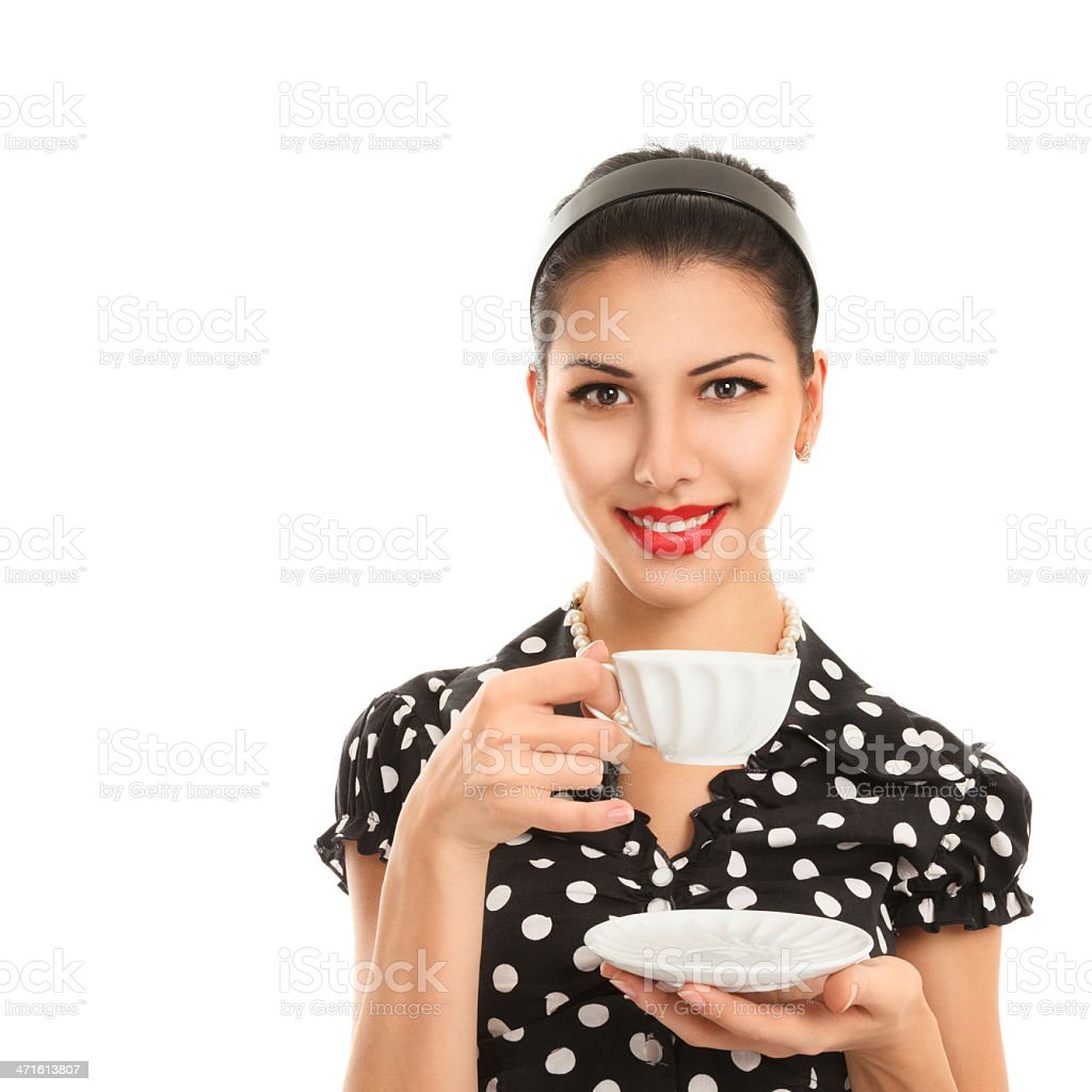 Young woman with tea royalty-free stock photo