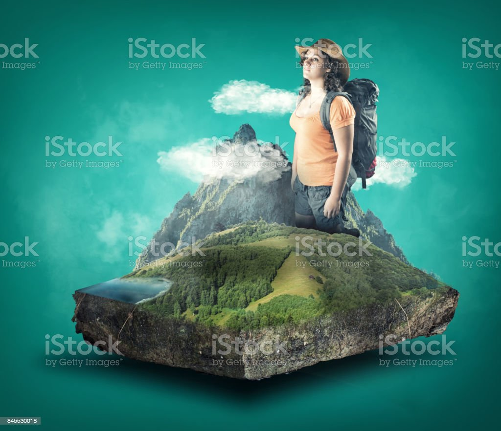 Young woman with the backpack stock photo