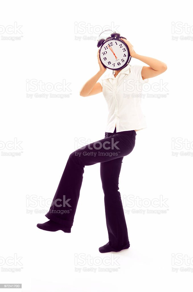 Young Woman with the Head of Alarm Clock royalty-free stock photo