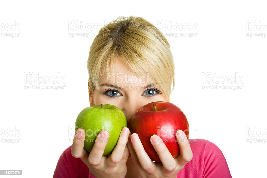 Young woman with two apples royalty-free stock photo