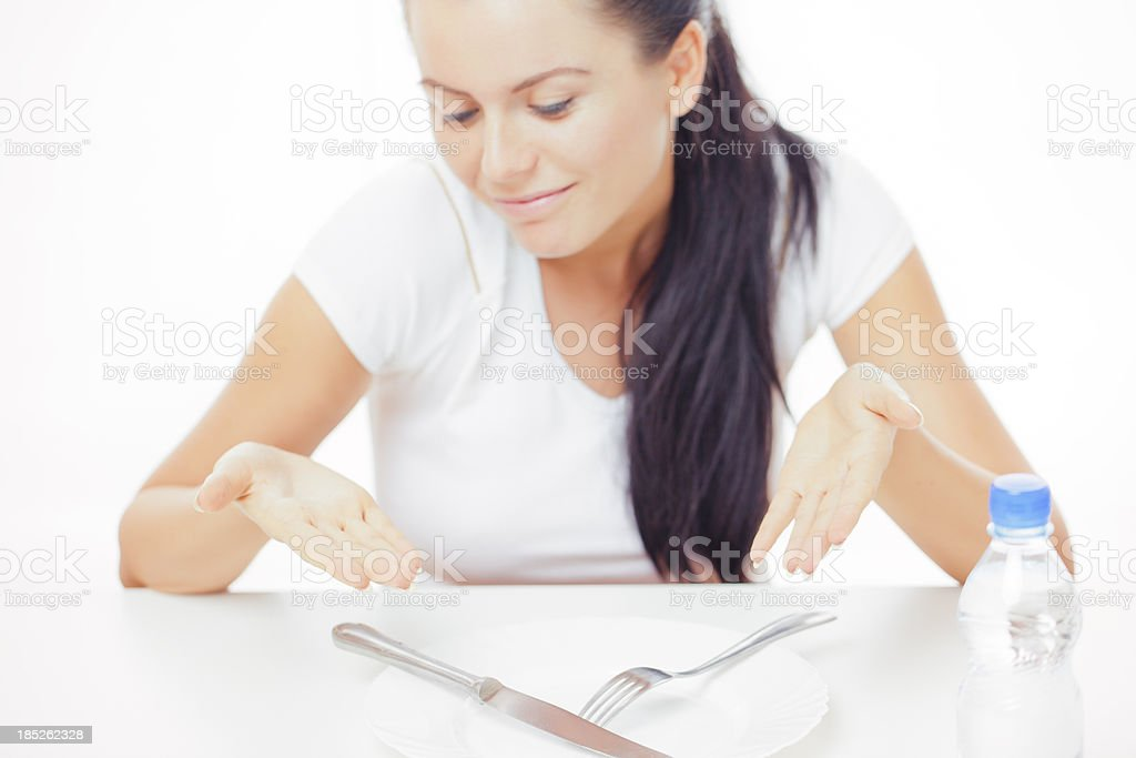 Young woman with water stock photo