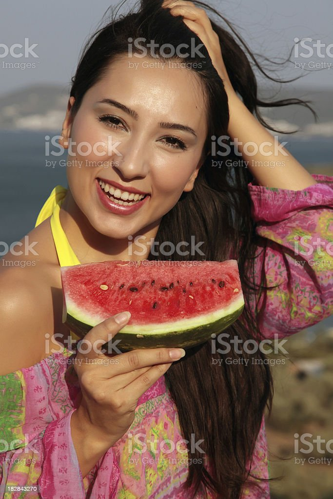 Young woman with watermelon royalty-free stock photo