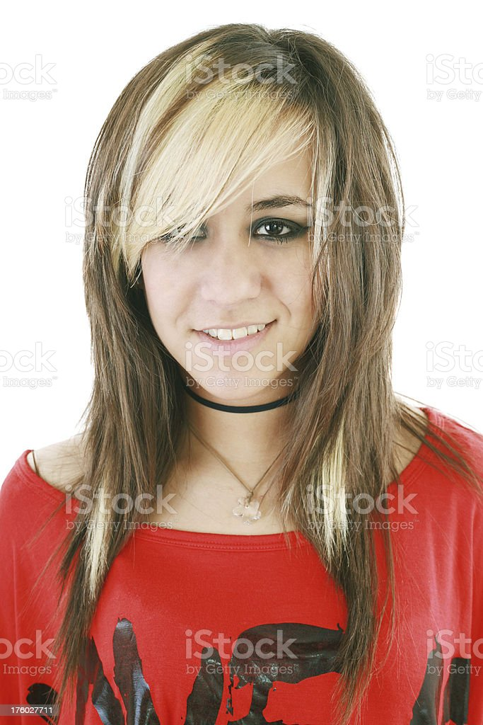 young woman with wild blond hair stock photo