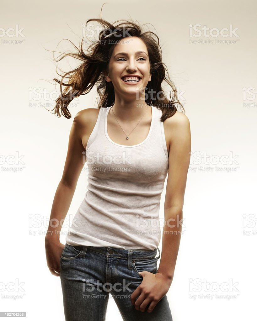 Young Woman With Windblown Hair stock photo