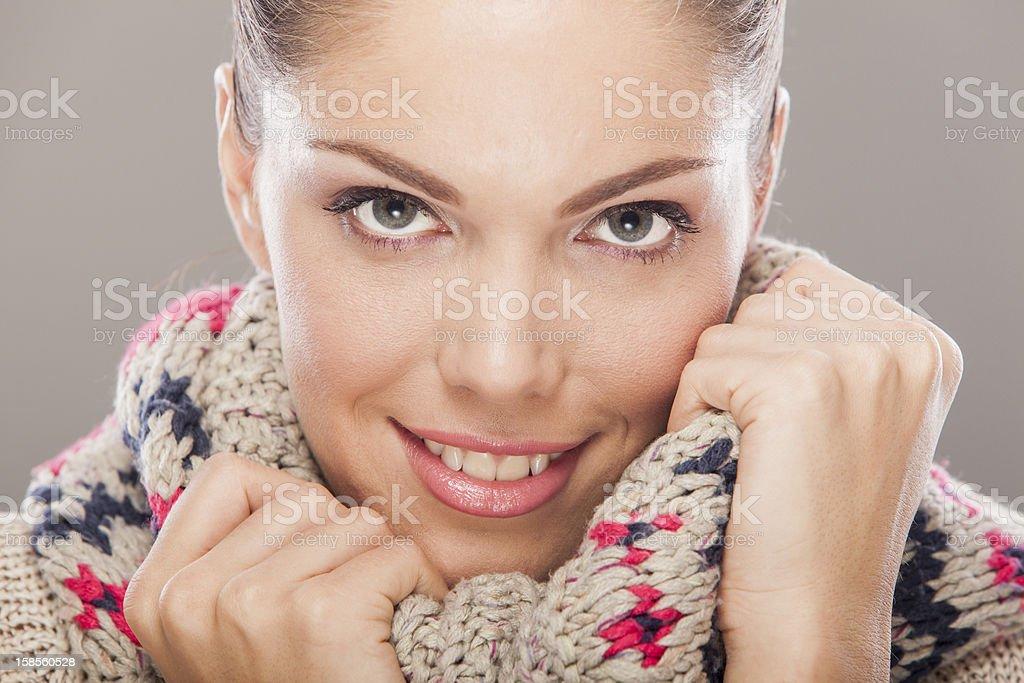 겨울 의류에 젊은 여자 royalty-free 스톡 사진