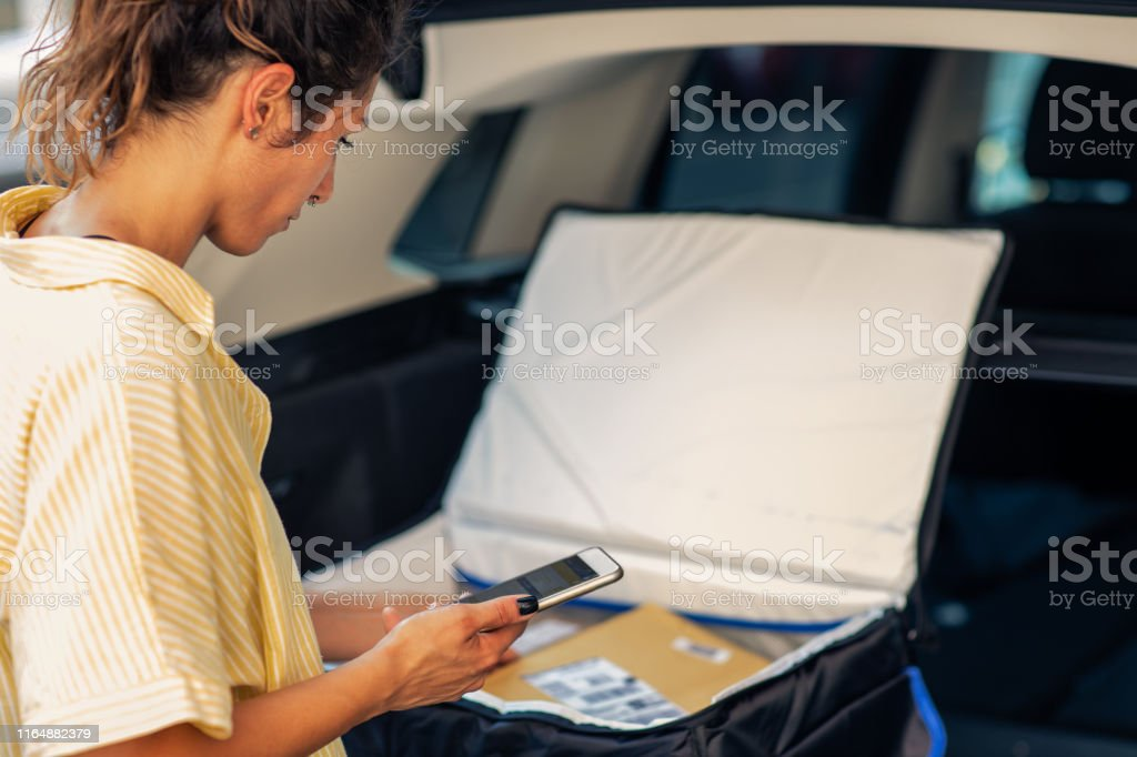 Young woman working as delivery person and checking packages for...