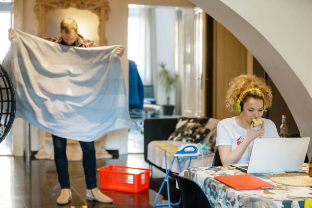 ung kvinna som arbetar hemma på laptop, sambo vika en trasa - working from home bildbanksfoton och bilder