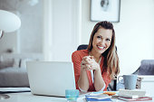 istock Young woman working at home 532334968