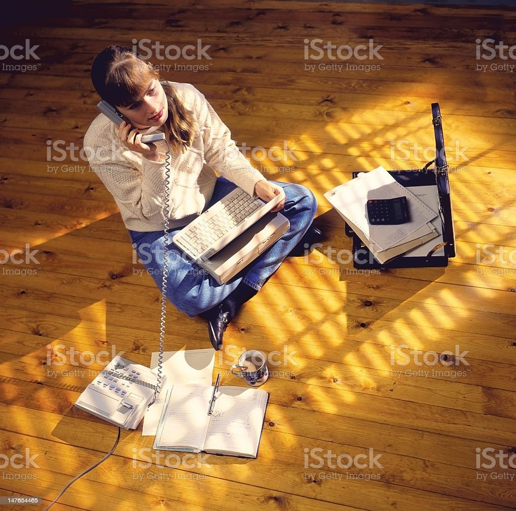 Young woman working from home royalty-free stock photo