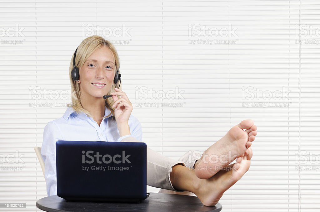 Young Woman Working Home W PC royalty-free stock photo