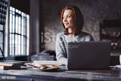 istock Young woman working in a loft apartment with a laptop computer 647301924