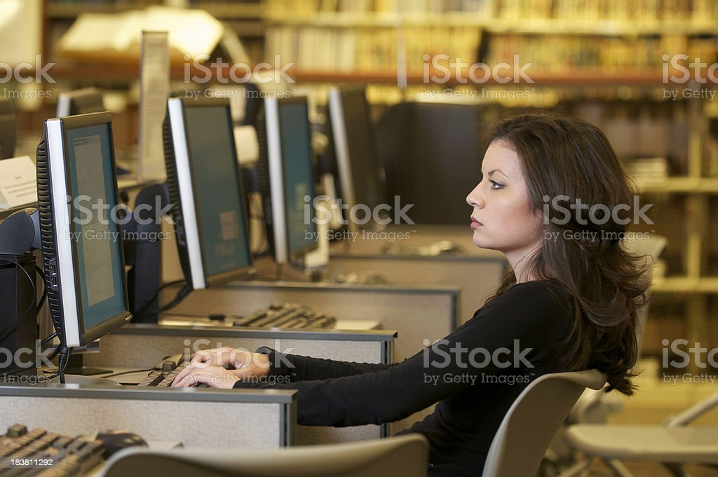 Young Woman Working in Computer Lab royalty-free stock photo